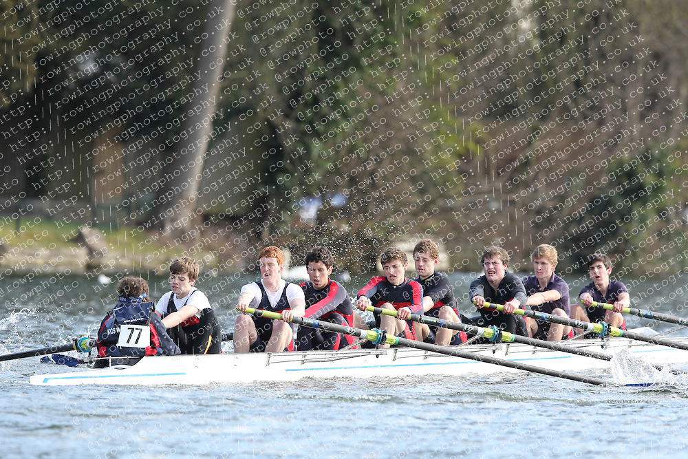 2012.02.25 Reading University Head 2012. The River Thames. Division 1. Kings College School Wimbledon Boat Club B J18A 8+