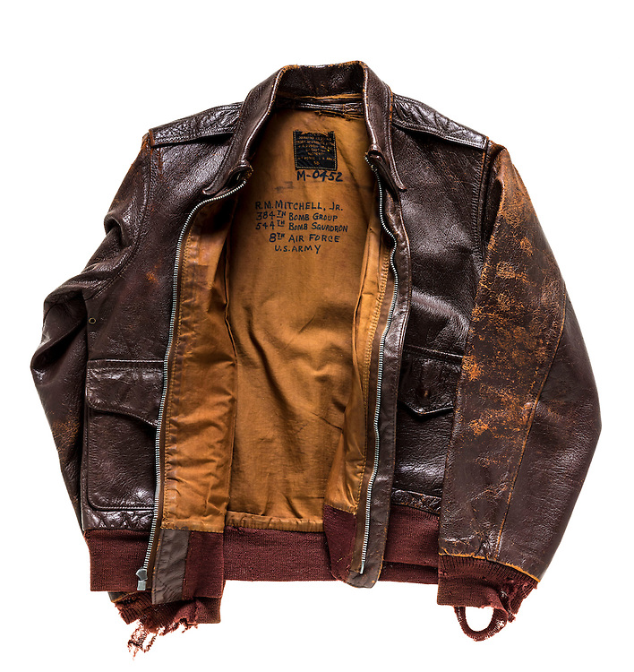 Original A-2 jacket that belonged to Mr. Bob Mitchell, Jr. of Trussville, Alabama.  He flew 38 combat missions wearing this jacket.