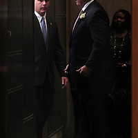(Boston, MA - 1/6/14) Mayor Marty Walsh is greeted by City Councilor Stephen Murphy before addressing the City Council Chambers at Boston City Hall, Monday, January 06, 2014. Staff photo by Angela Rowlings.