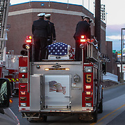 The body of Wilmington Senior Firefighter is taken away on engine number five Sat, Dec. 11, 2016, at The Chase Center On The River Front in Wilmington, Delaware. <br /> <br /> Wilmington Senior Firefighter Ardythe Hope died Dec. 1 from injuries suffered battling a fire on September 24th that was ruled arson.  <br /> <br /> She'd been in the hospital ever since with burns over 70 percent of her body.