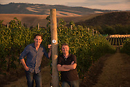 Kyle MacLachlan with winemaker Dan Wampfler (Winemaker for Kyle's Pursued by Bear wine and Dunham Cellars) at Kenny Hill Vineyard, Walla Walla, Washington