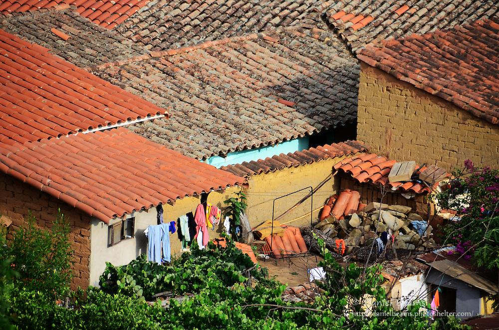 Houses with clay tile roofs in Samaipata, Santa Cruz, Bolivia