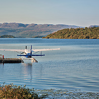 A sea plane docked in front of our hotel in Loch Lomond.