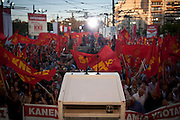 A large gathering of the communist party (KKE) to hear Aleka Papariga's speech in Athens, Greece. Image © Angelos Giotopoulos/Falcon Photo Agency