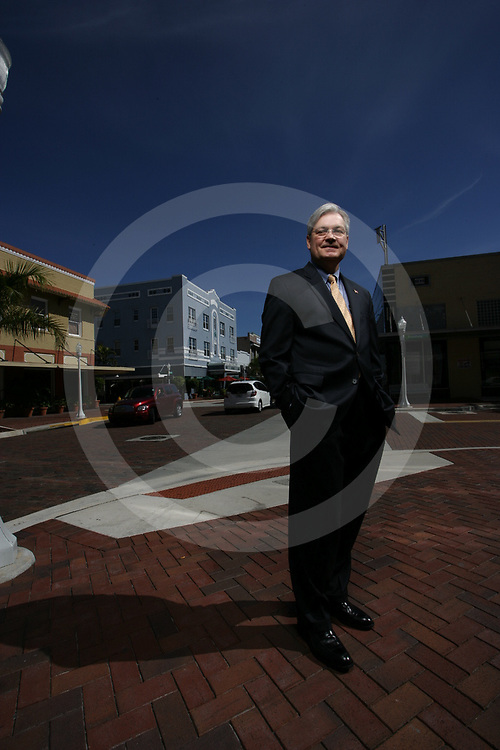 Fort Myers Mayor Randy Henderson at the corner of Broadway and First Street in Downtown Fort Myers, FL on Monday, March 1, 2010.<br /> www.briantietz.com<br /> mail@briantietz.com<br /> (239) 823-8850