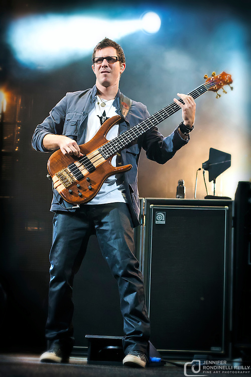 Stefan Lessard on bass with the Dave Matthews Band live at First Bank Amphitheater in Tinley Park, IL on 9/26/2009 in East Troy, WI.  Photo by Jennifer Rondinelli Reilly. No use without permission. Contact me for any reuse or licensing inquiries.