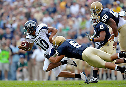 Te'o makes his first tackle as an Irish linebacker in the 2009 season-opening win against Nevada.