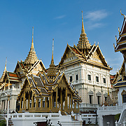 At the Grand Palace in Bangkok, Thailand, Asia: Chakri Maha Prasat Hall was built in 1882, Bangkok's centenary celebration year, by King Chulalongkorn (King Rama V). The Chakri group of buildings now receives foreign ambassadors and serves banquets to visiting heads of State. The small pavilion in front is Aphorn Phimok Prasat, built entirely of wood by King Rama IV. The Grand Palace complex (Phra Borom Maha Ratcha Wang) was built on the east bank of the Chao Phraya River starting in 1782, during the reign of Rama I. It served as the official residence of the king of Thailand from the 1700s to mid 1900s.