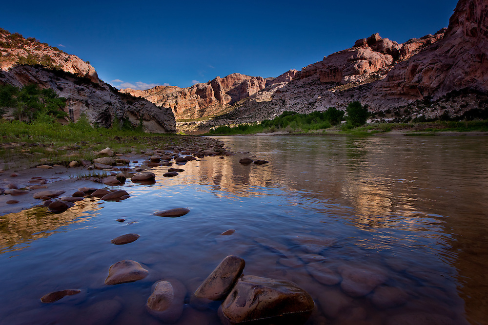 Morning reflections on the Green River at Split Mountain, Dinosaur National Monument, Utah