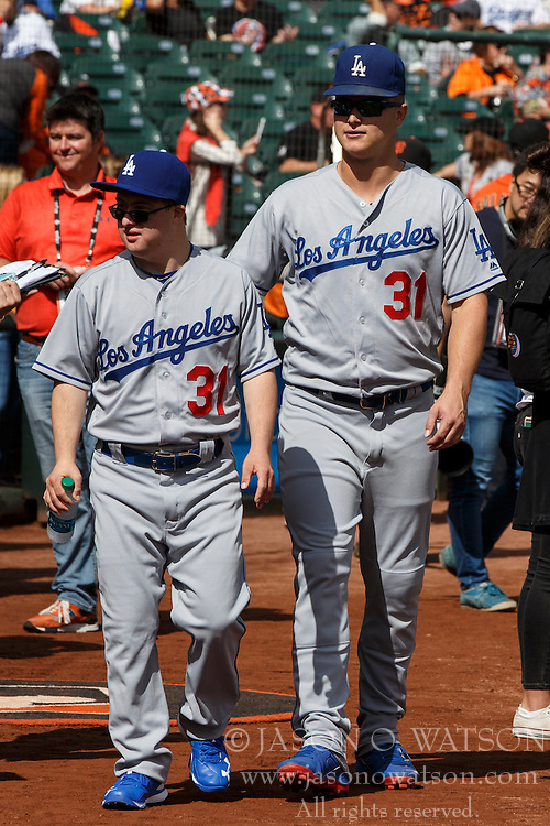 SAN FRANCISCO, CA - OCTOBER 02: Joc Pederson #31 of the Los Angeles Dodgers stands on the field with his brother Champ Pederson (left) before the game against the San Francisco Giants at AT&T Park on October 2, 2016 in San Francisco, California. The San Francisco Giants defeated the Los Angeles Dodgers 7-1. (Photo by Jason O. Watson/Getty Images) *** Local Caption *** Joc Pederson; Champ Pederson