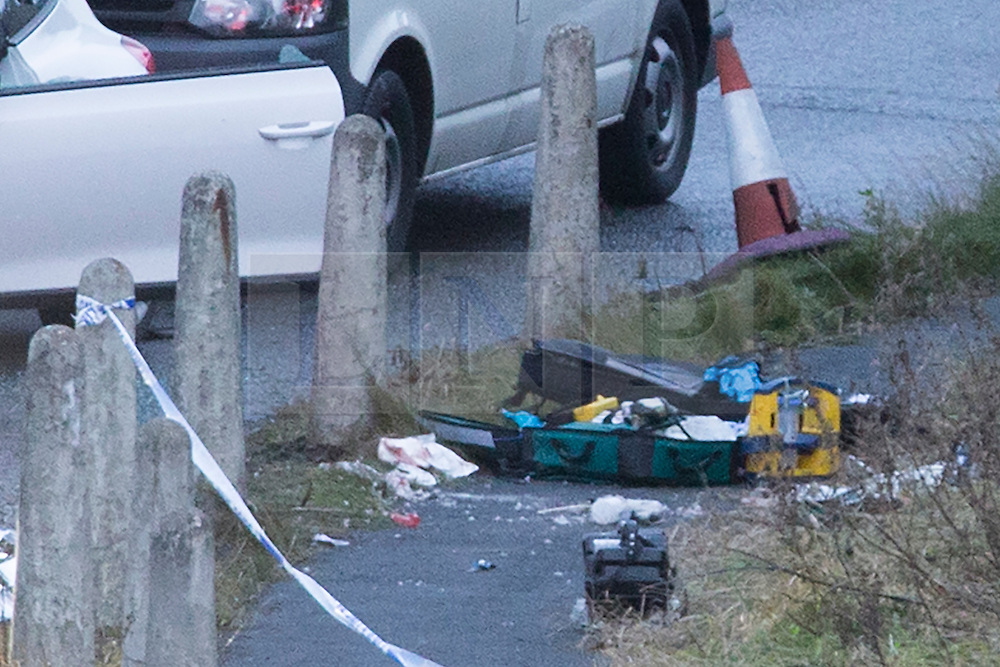 © Licensed to London News Pictures. 03/01/2017. Huddersfield UK. Picture shows medical equipment left at the scene where a man has died during a pre-planned operation on a M62 slip road near Huddersfield. Police said a police firearm was discharged at about 18:00 on Monday near the M62 motorway.  Photo credit: Andrew McCaren/LNP