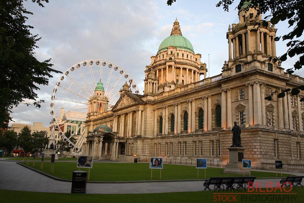 City Hall and big wheel.<br /> Belfast, Northern Ireland, United Kingdom, Europe.