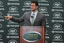 Mar 26; Florham Park, NJ, USA; Newly acquired New York Jets quarterback Tim Tebow addresses the media at the Atlantic Health Jets Training Center.
