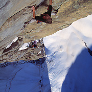 """The late, great alpinist, Alex Lowe & Conrad Anker climbing a first ascent on """"The Bird"""" in the Ak-Su, Pamirs, Kyrgyzstan"""