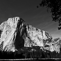 Winter scenes in Yosemite Valley located in the Yosemite National Park..El Capitan viewed from the Valley Floor..El Capitan is the largest piece of granite in the park. .It is 7569ft, 2307m, tall and was carved by a giant glacier over 100 million years ago.