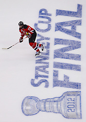 May 30; Newark, NJ, USA; New Jersey Devils left wing Ilya Kovalchuk (17) during warmups before game 1 of the 2012 Stanley Cup Finals at the Prudential Center.  The Kings defeated the Devils 2-1.