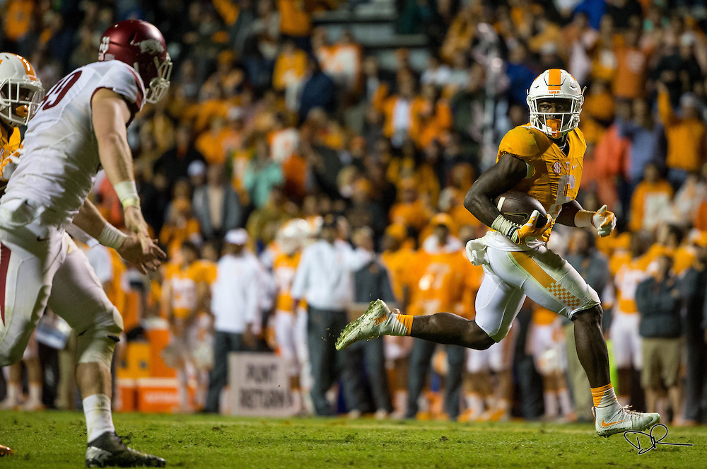 Tennessee Volunteer running back Alvin Kamara runs the ball during an SEC footbal game against  the Arkansas Razobacks at Neyland Stadium on October 13, 2015. Arkansas would go on to win the game 24-20.