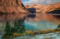 Bow Lake at sunrise in Banff National Park in Canada