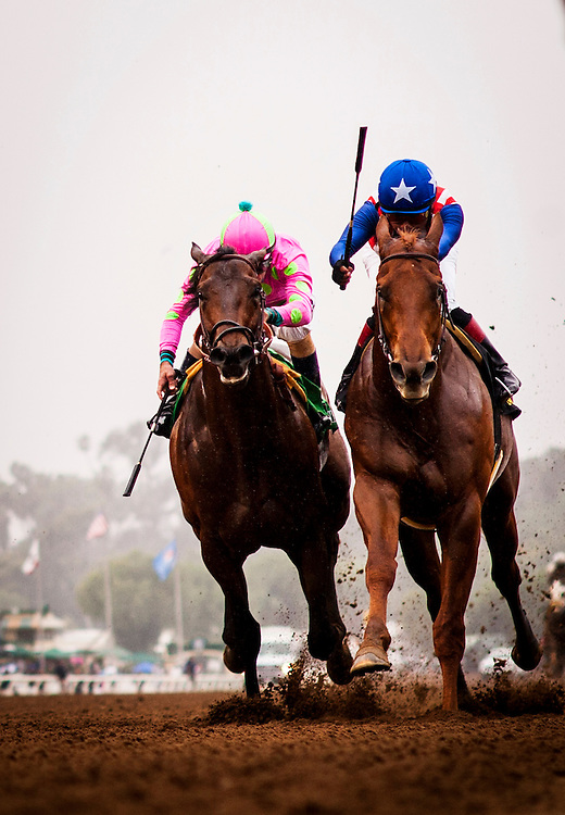 February 07 2015: Dortmund with jockey Martin Garcia up (right) defeats Firing Line and Gary  Stevens to wins The GII Robert Lewis Stakes at Santa Anita Park in Arcadia CA. Alex Evers/ESW/CSM`