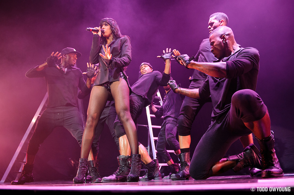 Kelly Rowland performing in support of Chris Brown on the FAME Tour 2011 at the Verizon Wireless Amphitheater in St. Louis, MO on September 24, 2011.