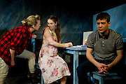 16/11/2011. Sarah Hoare as Wendy, Victoria Bavister as Linda and Charlie Hollway as Malcolm in production of 'The Biting Point' by Sharon Clark. Performed and produced by Theatre503 at The Latchmere in Battersea. Picture credit should read: Tony Nandi