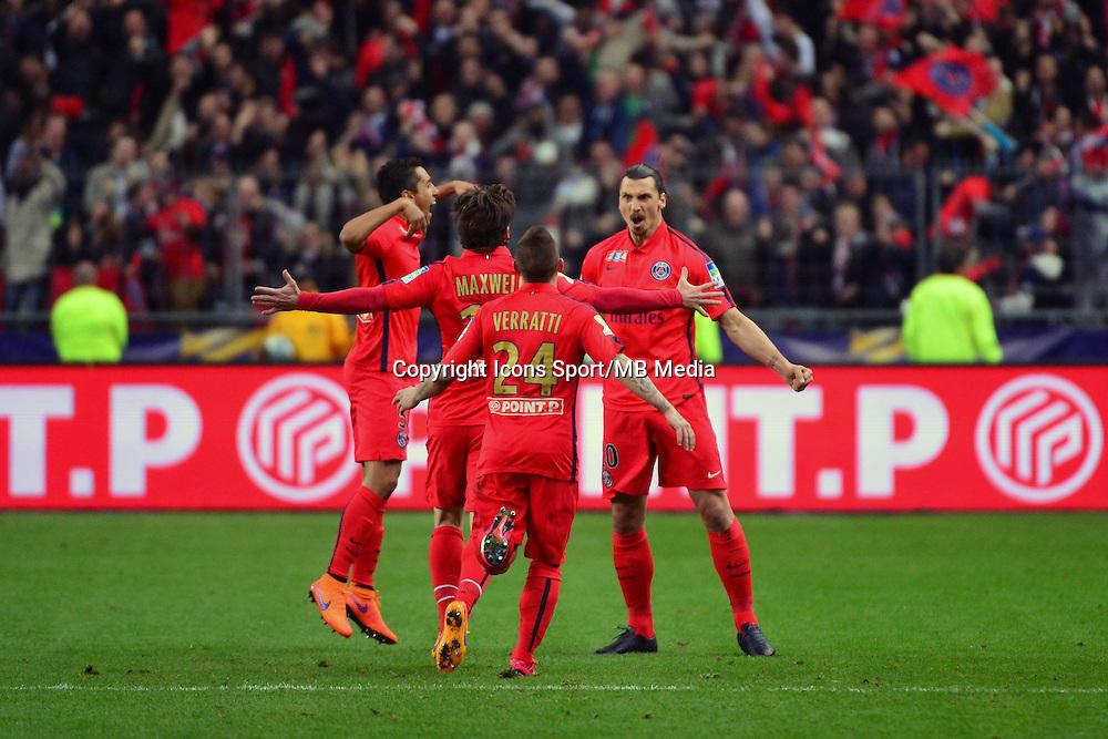 Joie Zlatan IBRAHIMOVIC  - 11.04.2015 -  Bastia / PSG - Finale de la Coupe de la Ligue 2015<br />Photo : Dave Winter / Icon Sport