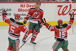 Mar 17; Newark, NJ, USA; New Jersey Devils defenseman Andy Greene (6) celebrates his goal during the first period of their game against the Pittsburgh Penguins at the Prudential Center.