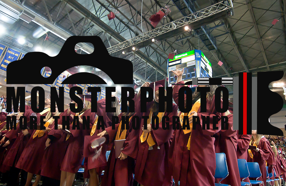 ?06/13/12 Newark DE: 342 Appoquinimink High School graduation students celebrate by toss there caps in the during the final moment of Appoquinimink ceremony Wednesday, June 13. 2012, at The Bob Carpenter Center in Newark Delaware.??Special to The News Journal/SAQUAN STIMPSON??Congratulation to the class of 2012, Until next season. ??#saquanstimpson #assignments #monsterphoto #graduation #classof2012 #tokina #canon #wideangle #photojournalism #Appoquinminkhighschool #middletownde ??©2012 Saquan Stimpson, all rights reserved