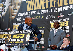 September 19, 2007; New York, NY, USA; Leonard Ellerbe, advisor to Floyd Mayweather (l) taunts Ricky Hatton (r) at the press conference announcing the World Welterweight Championship bout between Floyd Mayweather Jr and Ricky Hatton.  The fight will take place on December 8, 2007 at the MGM Grand Garden Arena in Las Vegas, Nevada.