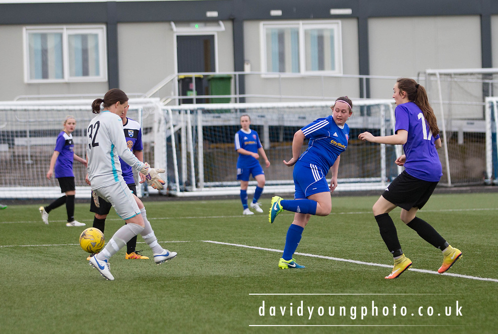 Laura Parsley (blue shirt) scores with a cheeky backheel for Farmington in her side's 4-1 win over East Fife - Forfar Farmington v East Fife in the Scottish Womens' Premier League 2 at Station Park in  Forfar : Image &copy; David Young<br /> <br />  - &copy; David Young - www.davidyoungphoto.co.uk - email: davidyoungphoto@gmail.com