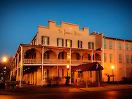 The St. James Hotel is pictured at dusk, Feb. 14, 2015, in Selma, Alabama. The hotel was built in 1837 and is believed to be one of the only surviving riverfront antebellum hotels in existence. (Photo by Carmen K. Sisson/Cloudybright)