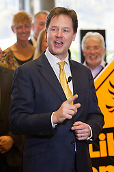 © Licensed to London News Pictures. 08/04/2013. St Austell, UK. Deputy Prime Minister, Nick Clegg at The Eden Project to launch the national Liberal Democrat campaign for the 2013 local elections. Photo credit: Ashley Hugo/LNP