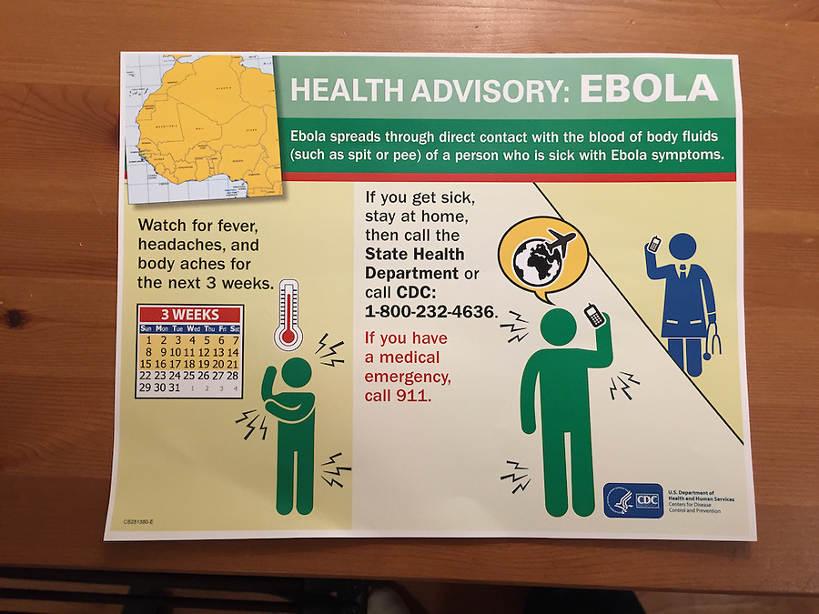 US Ebola screening kit health advisory card