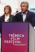 l to r: Jane Rosenthal and Robert De Niro at The 2009 Tribeca Film Festival Opening Press Conference Kick-Off held at The Borough of Manhattan Community College in New york City on April 21, 2009