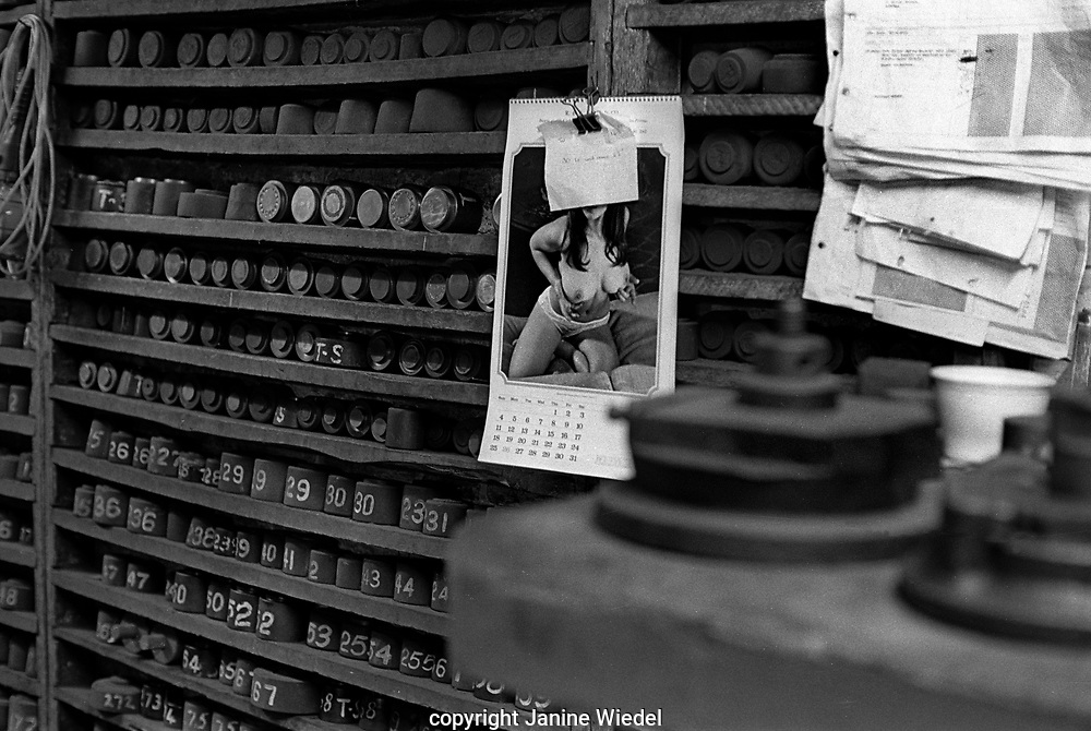 Still life at Turner and Simpson silversmiths and enamellers in Birmingham's Jewellery Quarter in the 1970s