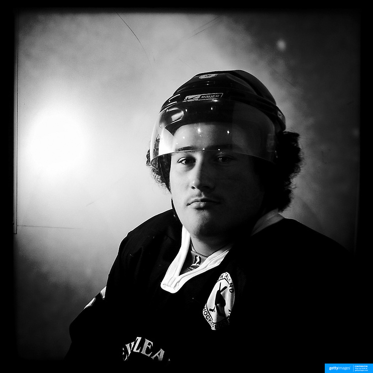 Ice Men Cometh… Ethan Henare, 20, New Zealand..An iPhone portrait series on young men competing in the 2012 IIHF Ice Hockey World Championships Division 3. The tournament  was contested by countries New Zealand, Iceland, China, Bulgaria and Turkey at Dunedin Ice Stadium. Dunedin, Otago, New Zealand. 17th January 2012. Photo Tim Clayton