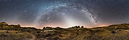 A 360&deg; panorama of the winter sky over Dinosaur Provincial Park, Alberta, on February 28, 2017. The Milky Way arches across the sky from south (left) to northeast (right). The Zodiacal Light stretches up from the western horizon at centre. The Gegenschein is faintly visible above the horizon at far left in Leo. <br /> <br /> Orion is left of centre; the Pleiades sit at the tip of the Zodiacal Light pyramid of light. <br /> <br /> The ground is lit only by starlight. No artificial illumination or light painting applied. <br /> <br /> This is a stitch of 6 segments taken with the 12mm full-fame fish-eye Rokinon lens at f/2.8, all 30-second exposures with the Nikon D750 at ISO 6400. The camera was aimed portrait with the segments at 60&deg; spacings. Stitched with PTGui using equirectangular projection with the zeith pulled down slightly.