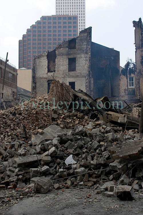 03 Sept  2005. New Orleans, Louisiana. Post hurricane Katrina.<br /> The burned out remains of an old building in the Central Business district of New Orleans that suspected arsonists set light to.<br /> Photo Credit &copy;: Charlie Varley/varleypix.com