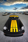 Image of a black 1975 Porsche 911 streamliner getting ready to race at the Bonneville Salt Flats, World of Speed 2014, Utah, American Southwest
