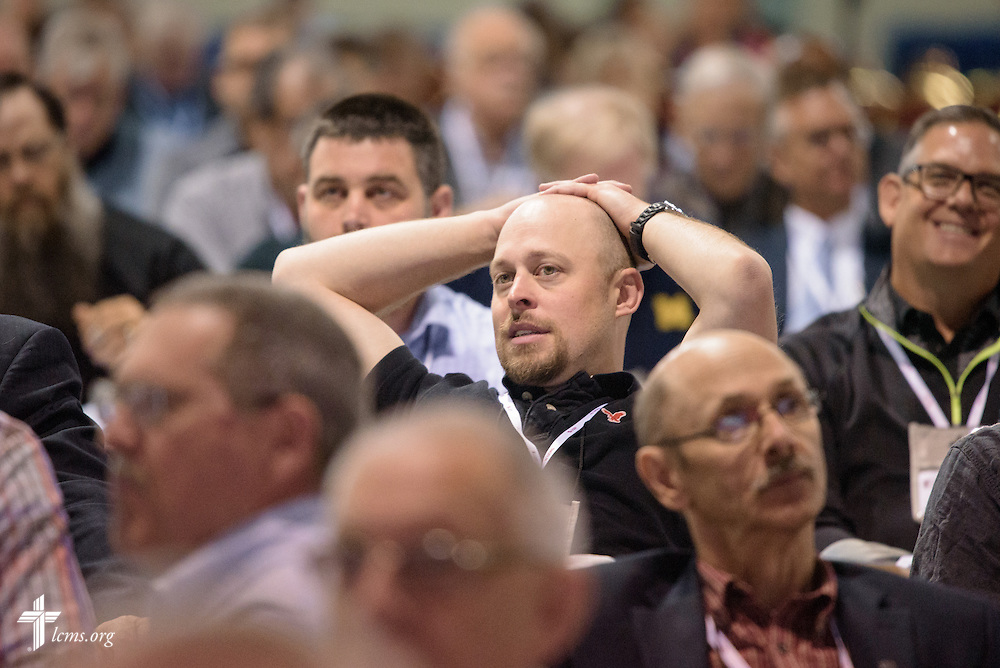 The Rev. Ross Shaver, voting delegate and pastor of Zion Lutheran Church in Nampa, Idaho, listens Thursday, July 14, 2016, at the 66th Regular Convention of The Lutheran Church–Missouri Synod, in Milwaukee. LCMS/Frank Kohn