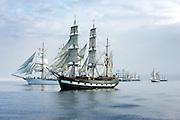 10/7/2005.The tall ship the Jeanie Johnston (near) pictured 5km from Hook Head on Saturday before leaving for Cherbourg on the first leg of the Tall Ships Races 2005..Picture Dylan Vaughan