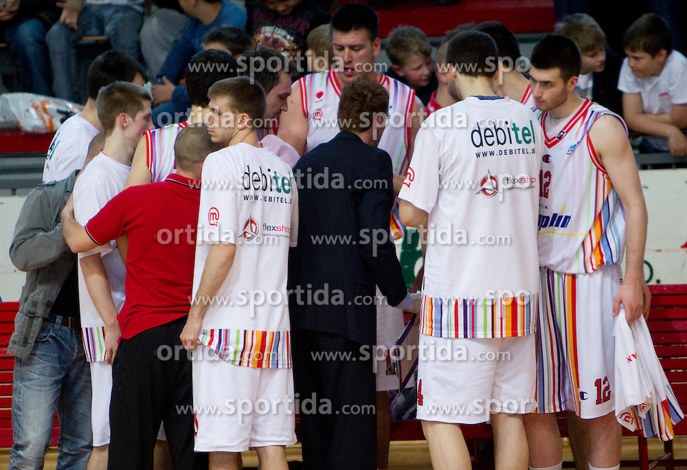 Team of Slovan during basketball match between KK Geoplin Slovan and KK Union Olimpija in 4th Round of Telemach Slovenian Champions League, on April 6, 2011, in Sports Arena Kodeljevo, Ljubljana, Slovenia.  (Photo by Vid Ponikvar / Sportida)
