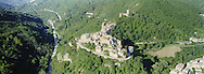 24 August 2016, Arquata del Tronto Italy. One month later the earthquake a view from helicopter of the Arquata del Tronto.
