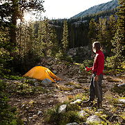 ID00605-00...IDAHO - Campsite at Alice Lake in the Sawtooth Wilderness, Sawtooth National Recreation Area. (MR# K1)
