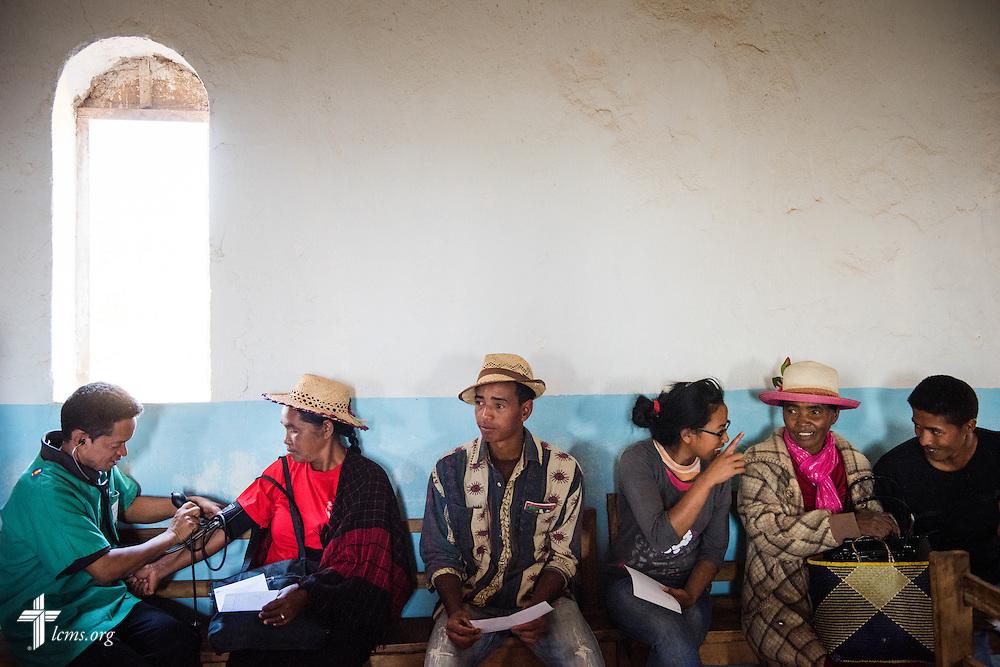 The Mercy Medical Team treats patients Saturday, Oct. 18, 2014, at a Fiangonana Loterana Malagasy (FLM) Lutheran church in Antsoantany, Madagascar. LCMS Communications/Erik M. Lunsford