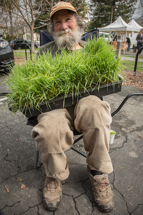 Rudd Farm Manager Jack Reed at his wheatgrass booth at the Calistoga Saturday Market