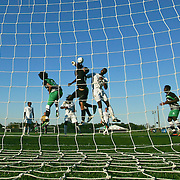 Goldey-Beacom Keeper Ignacio Farias (00) attempts to makes a save in traffic during a NCAA regular season match against Wilmington University Wednesday, Sept. 12, 2012. at Kirkwood Soccer Complex...Special to Monsterphoto/SAQUAN STIMPSON