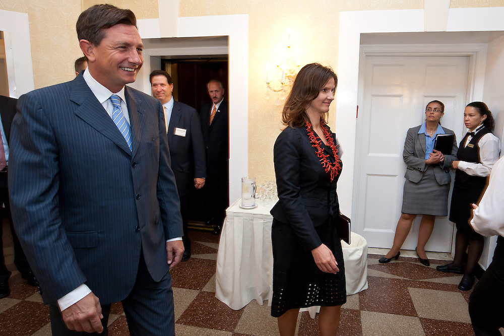 H. E. Borut Pahor-Prime Minister of the Republic of Slovenia enters the Investing In Green Forum. Business leaders in New York City attend presentations by Slovenia companies and government agencies. The Investing in Green was photographed by Jeffrey Holmes at the 3 West Club in New York, NY on September 24, 2010.