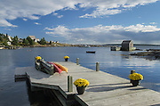 Boat dock with flowers Blue Rocks Nova Scotia