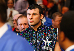 Nov 8, 2008; New York, NY, USA; Joe Calzaghe makes his way to the ring before his 12 round fight against Roy Jones Jr. at Madison Square Garden in New York, NY.  Calzaghe defeated Jones via unanimous decision.